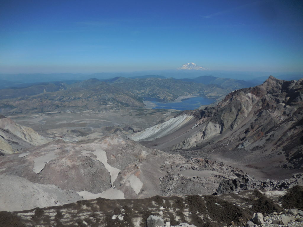 View into the crater, with Mount Rainier in the distance. Seeing this was the reason for the season ... erm, for the hike.