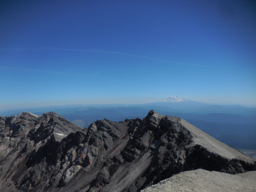East side of the crater, with Mount Adams (?) in the distance. We heard some loud rockslides happening over that way.